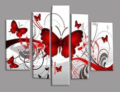 Get this cheap red butterflies multi--panel wall art for your home or office in Australia. Paintings in our gallery are hand painted with delivery nationwide. Multiple Canvas Paintings, Multi Canvas Painting, Canvas Wall Art, Red Butterfly, Panel Wall Art, Mural Art, Watercolor Paintings, Glass Art, Hand Painted