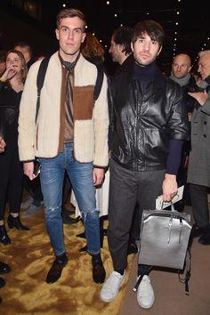 Filippo Cirulli and Filippo Fiora attending the Fendi F/W16 Men's fashion show in Milan.