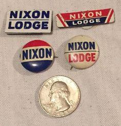 Vintage Lot Richard Nixon Lodge Campaign Buttons Pins Pinbacks Collar Tabs  | eBay