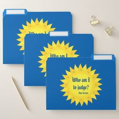 Pope Francis Quotation Blue File Folder Set Custom Office Retirement #office #retirement