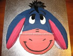 Homemade Eeyore Birthday Cake: I made this Eeyore Birthday Cake for my daughter's 1st birthday, as Eeyore is her favourite toy that she sleeps with and takes everywhere. This is a cake