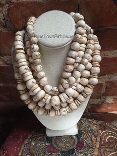 """StoneLoveArtJewelry Private Collection """"Vintage Hand Carved Conch Shell Beads from Nepal"""" Chunky Jewelry, I Love Jewelry, Ethnic Jewelry, Modern Jewelry, Chunky Necklaces, Etsy Jewelry, Jewelry Art, Beaded Jewelry, Jewelry Design"""