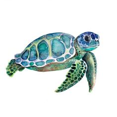 watercolor seaturtle painting single girl hey Hey GirlYou can find Aquarell tiere and more on our website Sea Turtle Painting, Sea Turtle Art, Baby Sea Turtles, Water Color Turtle, Seahorse Painting, Seahorse Art, Watercolor Sea, Watercolor Animals, Watercolor Paintings