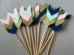 Chevron Cupcake Toppers Arrow Cupcake by preciouspaperpieces