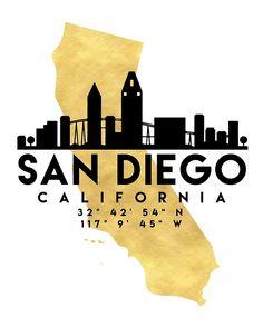 San Diego California Silhouette Skyline Map Art Art Poster by Deificus Art - X Map Canvas, Canvas Art Prints, San Diego Tattoo, Map Coordinates, San Diego Skyline, Foto Poster, California Map, California Wallpaper, Graffiti