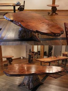 Rustic redwood dining table