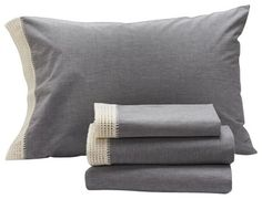 Crochet Trimmed Pillowcase, Midgray Chambray With Natural - transitional - Pillowcases And Shams - Coyuchi