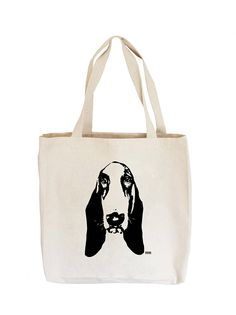 Basset Hound Canvas Tote Bag Basset Hound Gift Reusable Tote Gifts For Dog Owners, Dog Lover Gifts, Dog Lovers, Personalized Tote Bags, Basset Hound, Organic Baby, Canvas Tote Bags, Reusable Tote Bags, Portrait