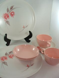 1950s 8 Piece Pink and White Windsor Melmac by ElodieVintageHome, $26.00