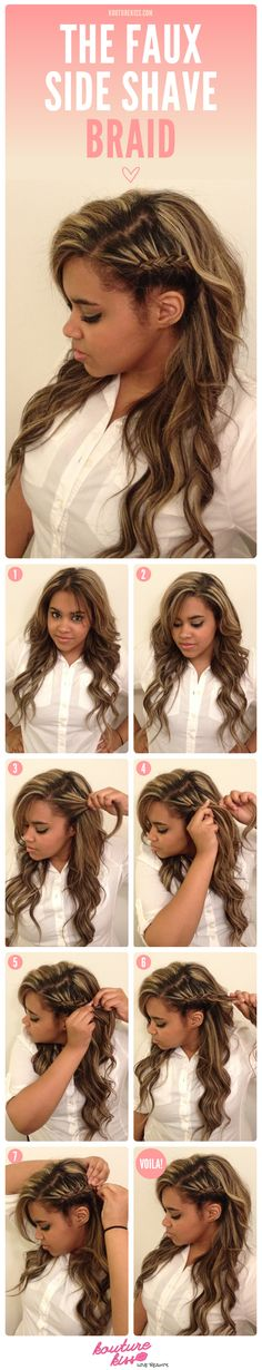 easy steps to fake a side shave look Listed in the picture