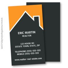 Real estate business card. Dark gray house outline or silhouette against an orange sky. Modern design for a real estate agent, realtor, architect or builder.