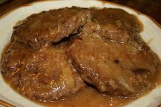Deep South Dish: Hamburger Steak with Creamy Onion Gravy -- I would omit the water in favor of more beef broth.  A little Worcestershire or Kitchen Bouquet would be good too. A nice jumping off recipe.
