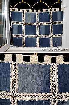 Diy Crafts - SewingBagscute,SewingBagsman-New life to old things - Jeans curtains -- La vida nueva a las cosas viejas – los visillos Jeans – New life Crochet Bedspread, Crochet Quilt, Crochet Stitches, Knit Crochet, Crochet Patterns, Diy Crafts Knitting, Diy Crafts Crochet, Jean Crafts, Denim Crafts