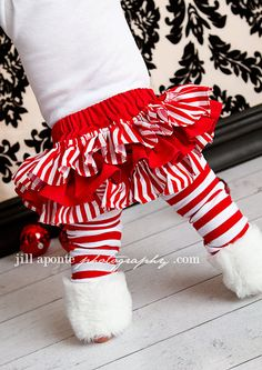 ruffle christmas candy cane skirt