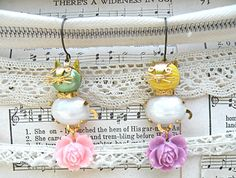 kitty cat earrings mismatch assemblage roses by lilyofthevally