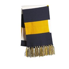 Sport-Tek STA02 Spectator Scarf - True Navy/Gold/White - Cheer on your favorite team in this fringed scarf. Coordinates with our Spectator Beanie (STC20, sold separately) and Spectator Gloves (STA01, sold separately). | FullSource.com