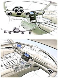 Aircraft-inspired interior sketches of the Mercedes SLS AMG