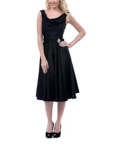 Black Drape Neck Swing Dress - Women & Plus