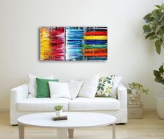 """Brave New World"" - $150 OFF - Original PMS Abstract Oil Painting On Canvas - 36"" x 18"""