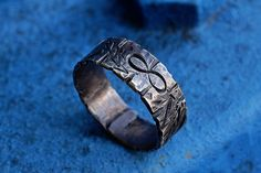 Infinity & Arrows Symbols Promise Ring, Sterling Silver Engagement Ring, Woodgrain Texture, Detailed w/ Scratches, Handcrafted