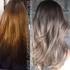"""And here is the amazing after shot for our lovely new client Sharon goodbye dark copper and black color banding hello beautiful pastel ash dark blonde…"""
