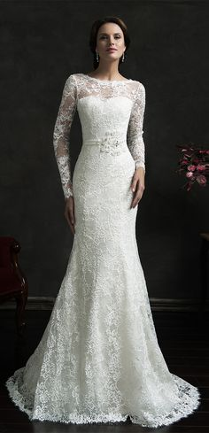 Long Sleeve Lace Full mermaid wedding dress from www.27dress.com