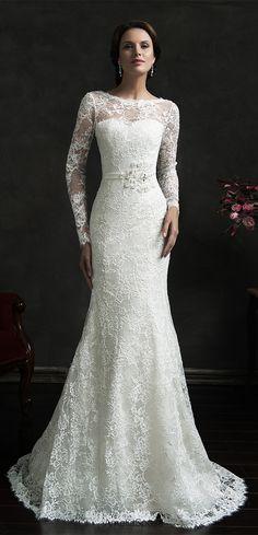 Long Sleeve Lace Full mermaid wedding dress from www.27dress.com