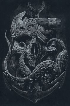 THE LOCKER Custom Print Octopus Skull Anchor Black door grabinkART