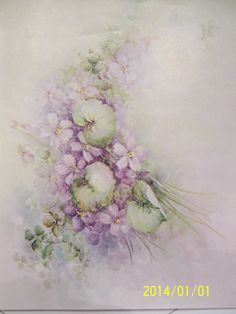 """China Paint Study 83 """" Pink Violets """" Sonie Ames 