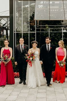 A Bright, Quirky Wedding at Planterra Conservatory in West Bloomfield, Michigan Bohemian Flowers, Silk Flowers, Quirky Wedding, Our Wedding, Fuschia Dress, Confetti Cake, Wedding Inspiration, Wedding Ideas, Silk Organza