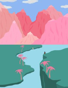 "Sydney-based Miranda Lorikeet, or _Lazybones_, is an HR assistant by day, taking spare moments, evenings and weekends to produce gradient and island filled drawings on MS Paint. Using pictures of sunsets for colour reference, and taking a day per image - working for hours to get the mountain ridges and gradients just right, Miranda is crazy prolific. Her work has something of the ""outsider"" about it: it's intuitive and strays only from seascapes, cliffs and rocky mountains to depict butts…"