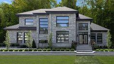 Rinox Lorado stone for a modern and smooth architecture idea Contemporary House Plans, Modern House Plans, Modern House Design, Latest House Designs, Modern Mountain Home, Fancy Houses, Dream House Exterior, Dream Home Design, Facade House