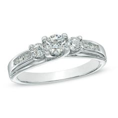 0.45 CT. T.W. Diamond Three Stone Engagement Ring in 10K White Gold  - Peoples Jewellers