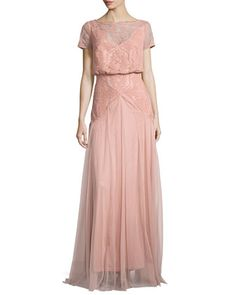 Popover Lace & Tulle Grecian Gown by Tadashi Shoji at Neiman Marcus.