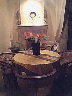Outdoor sala at Quebrada 111, San Miguel de Allende, during the evening. Photo modified with Brushstroke app.