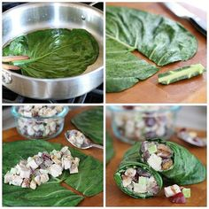 Chicken Salad On The Go! ... Kelly @thenourishinghome here… Collard green leaves make the perfect edible to-go containers for chicken, tuna or salmon salad.  Of course, you can always use raw collard greens–they're amazing! Yet, I find it's a bit easier to work with collard green leaves that have been quickly steamed or blanched, because they roll, and stay rolled, more easily.  How to Wrap with 🌿Collard Green Leaves •Quickly steam or blanch the leaves (no more than 20-30 seconds) • Place…