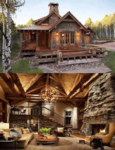 145 Small Log Cabin Homes Ideas – – - Traumhaus Log Cabin Homes, Diy Log Cabin, Cozy Cabin, Cottage Homes, Cabins And Cottages, Cabins In The Woods, House Goals, My Dream Home, Future House