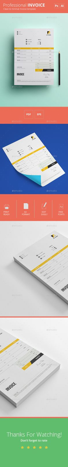 60 best Invoice Template Designs Download images on Pinterest     psd invoice template Simple Invoice Template  AI   PSD  by Raymar Lobaton   via Behance