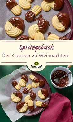Helles Spritzgebäck mit Schokoglasur A classic Christmas bakery that should not be missing under any circumstances ? If it is too difficult for you to spray from the piping b Diabetic Desserts, Healthy Dessert Recipes, Memorial Day Desserts, Chocolate Icing, Chocolate Cookies, Picnic Foods, Wonderful Recipe, Easy Cookie Recipes, Shortbread Cookies