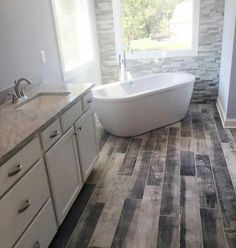 Recent Installation Of Distressed Wood Plank Tile