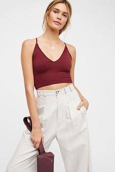 Intimately Ribbed V-Neck Brami Free People Store, Cute Crop Tops, Perfect Wardrobe, Wardrobe Basics, Summer Outfits, Summer Clothes, Short Dresses, Camisole Top, V Neck