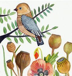 Bird Art / Poppy Flower / Flowers / Organic Art by sublimecolors, $29.99