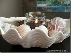 a pretty shell shaped candle holder