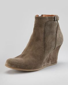 gray suede wedge ankle boot (so many favorite words in one shoe)