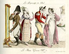 Plate 7: two girls and their gallants dress up in fancy dress and masks.  1801-2?  Hand-coloured etching