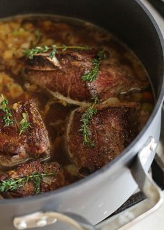 The ultimate dish for entertaining, Braised Red Wine Short Ribs simmer in the oven for hours, leaving the kitchen smelling like a savory dream and giving you plenty of wiggle room to serve them whenever you're ready. Braised Short Ribs, Beef Short Ribs, Beef Ribs, Rib Recipes, Cooking Recipes, Dinner Recipes, Oven Recipes, Sweets Recipes, Fall Recipes