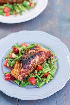 Honey Garlic Salmon with Warm Chopped Asparagus Salad | http://mayakitchenette.com/honey-garlic-salmon-with-warm-chopped-asparagus-salad/