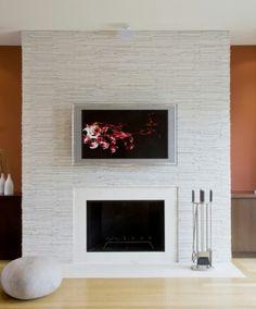 Stacked quartz fireplace