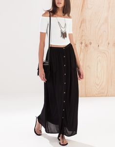 Maxi skirt with pockets Fashion 2020, Girl Fashion, Fashion Dresses, Spring Summer Fashion, Spring Outfits, Maxi Styles, Maxis, Maxi Skirts, Outfit Combinations