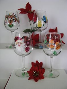 AVAILABLE NOW Christmas Wine Glasses Hand Painted by ImGlassyEyed, $70.00